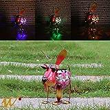 W-DIAN Solar Garden Lights Metal Art Outdoor Patio Decorative Animal Decor LED Lawn Metal Decorative Dog Statue