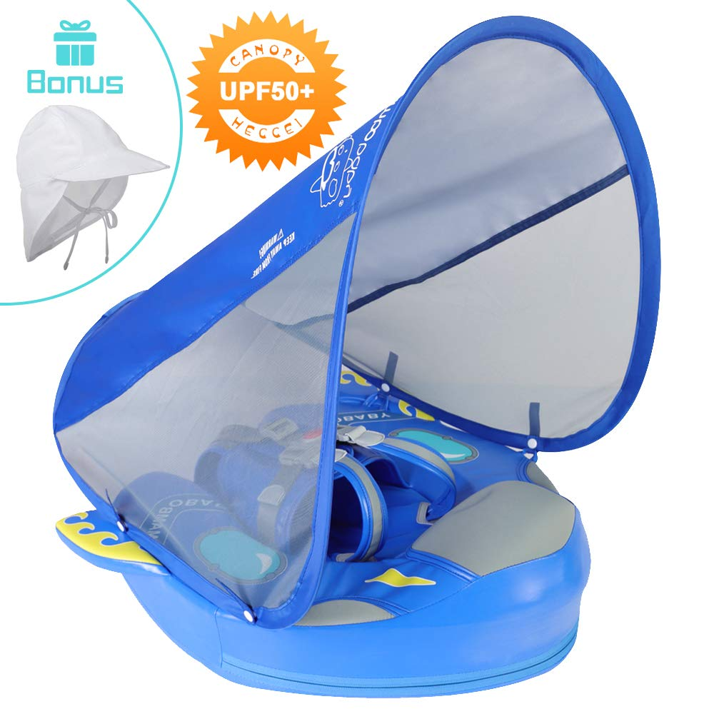 HECCEI Baby Float with Canopy, Swim Trainer, Infant Swim Float, Solid Baby Pool Floats, Non-Inflatable Water Toy UPF50+ Sun Protection Splash and Play Adjustable Safety Seat (Space Blue) by HECCEI