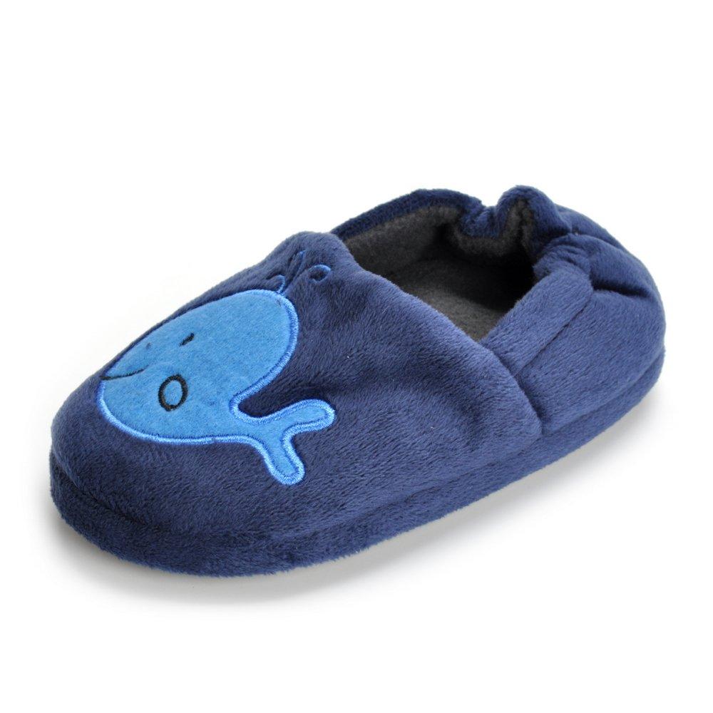 Estamico Toddler Boy's Premium Soft Plush Whale Slippers Cartoon Warm Winter House Shoes, US 5-6 M