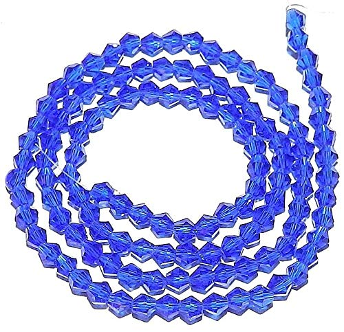 - Bead Jewelry Making Sapphire Blue 4mm Faceted Bicone Cut Crystal Glass Beads 120pc