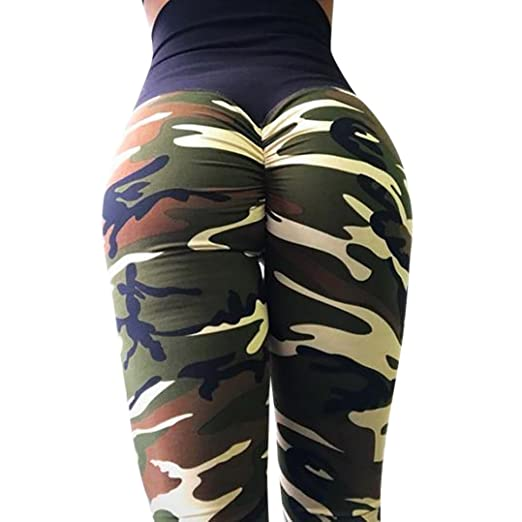aedb0873a7 Paymenow Women's Camouflage Ruffled Yoga Pants Leggings Exercise Workout  Pants Tummy Control Gym Tights (S