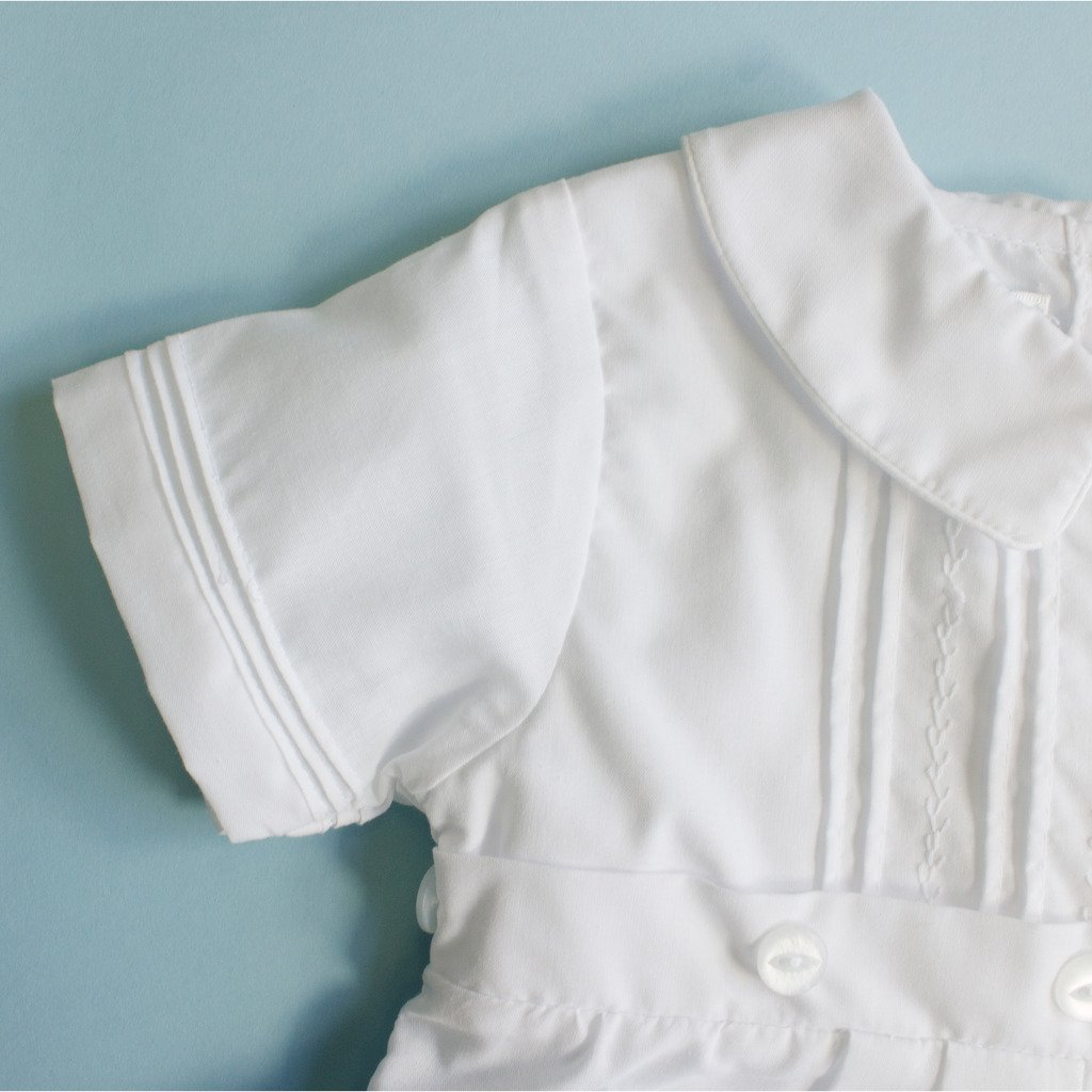 Cotton Christening Baptism Convertible Gown or Family Gown with Pintucking and Button Accents - Size 3 Month, White
