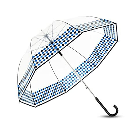 LXY Paraguas de paraguas de jaula de pájaros transparente paraguas hombres y mujeres mango largo paraguas