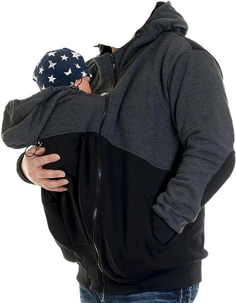 Männer Zip Up 2 In 1 Babytrage Känguru Fleece Kapuzenpulli
