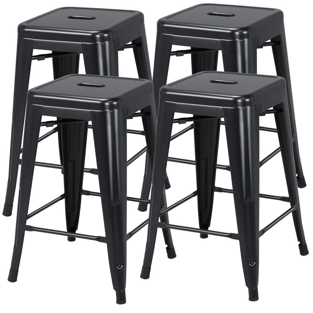 Yaheetech 24 inch barstools Set of 4 Counter Height Metal Bar Stools, Indoor/Outdoor Stackable Bartool Industrial High Backless Stools Black, Capacity 331 lb