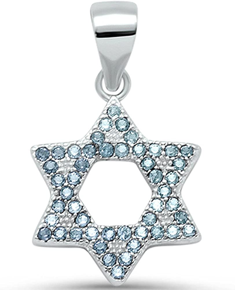 Micro Pave Simulated Ruby Star of David .925 Sterling Silver Pendant