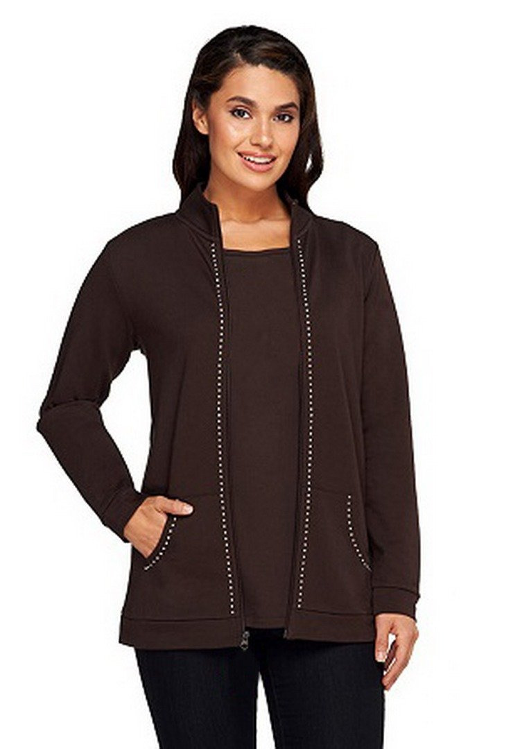 Quacker Factory Womens Charmed I'm Sure Zip Knit Jacket 290202RM (Espresso, X-Large)