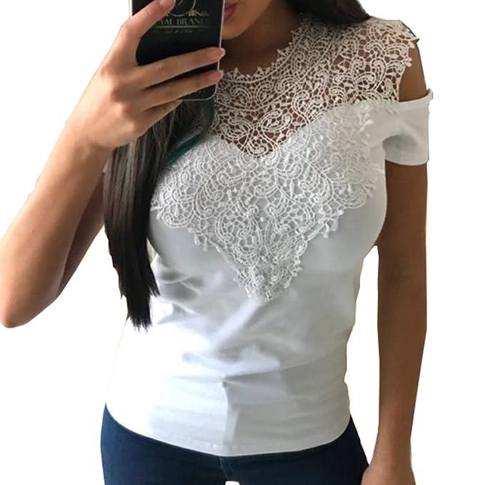 Hibote Camiseta Mujer Sins Hombro Tops de Encaje Camisa de Verano Blusa de Manga Corta Camisas