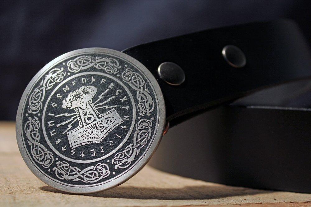Mjolnir Belt Buckle THORS HAMMER NORSE Etched Metal