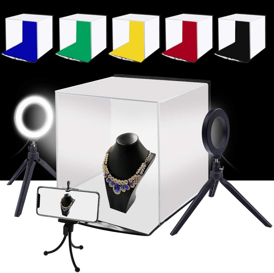 GuiPing 30cm Photo Softbox Portable Folding Studio Shooting Tent Box Size: 30cm x 30cm x 30cm Durable Red, Green, Yellow, Blue, White, Black 4.6 inch Ring LED Light Kits with 6 Colors Backdrops