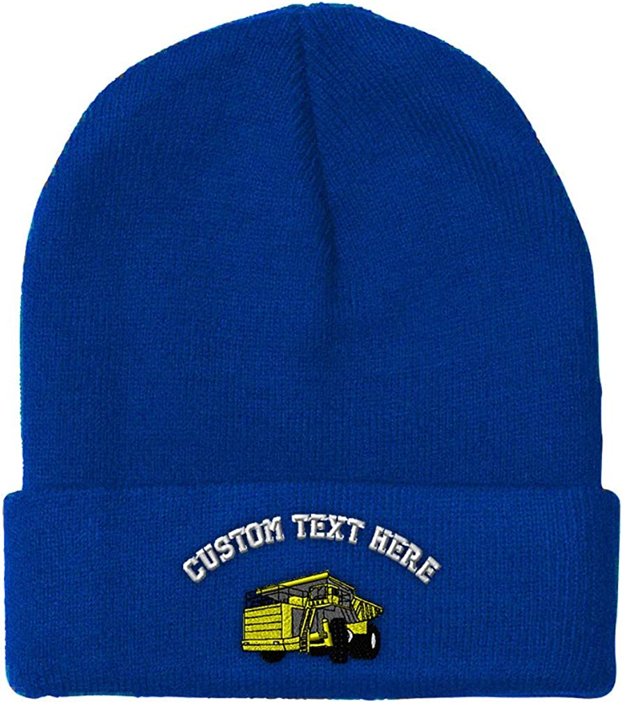 Custom Beanie for Men /& Women Yellow Big Dump Truck Embroidery Skull Cap Hat