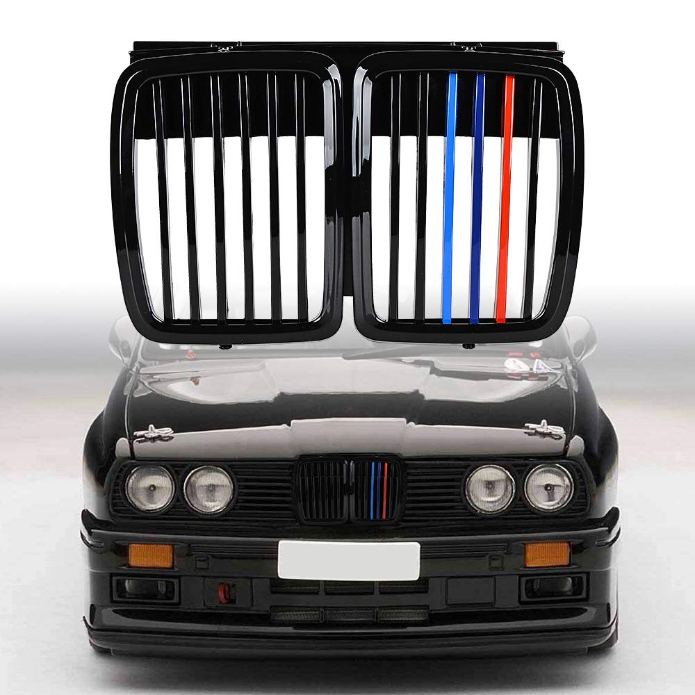 Glossy Black M-Color Astra Depot Compatible with 1982-1994 BMW E30 Front Upper Bumper Grille 318i 318is 325i 325is 325iX 325 325e 325es M3