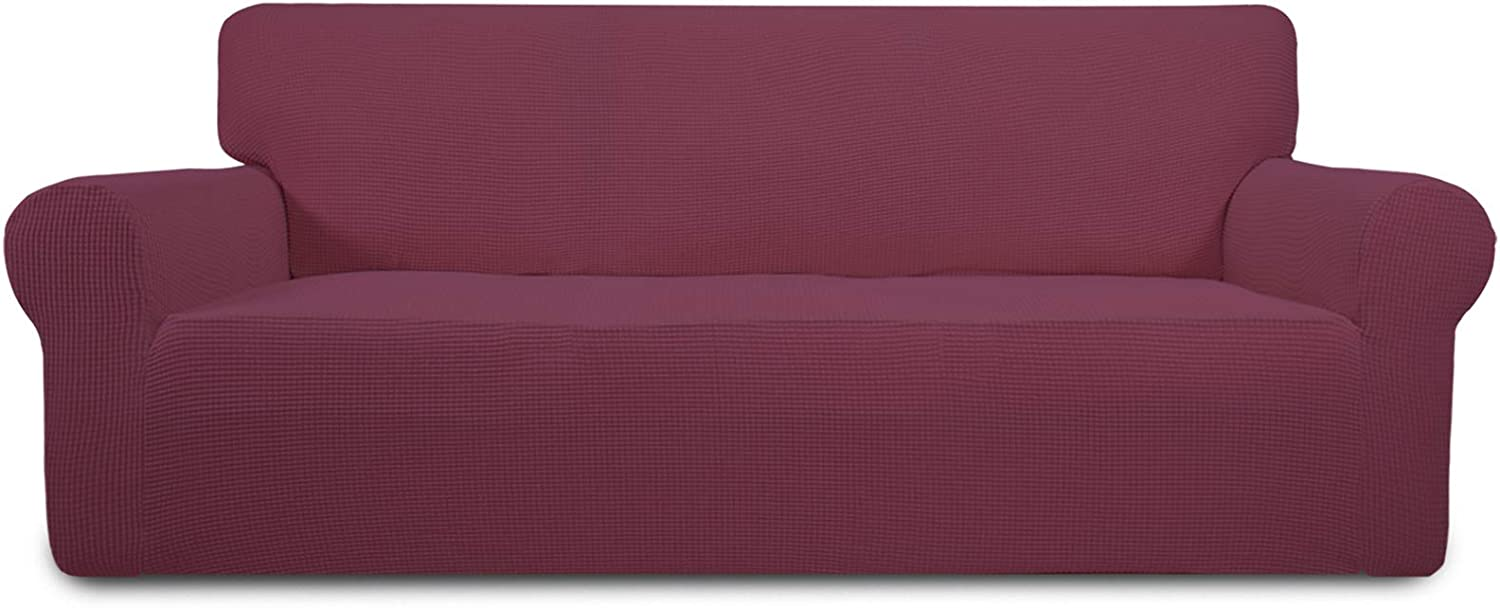 Easy-Going Stretch Sofa Slipcover 1-Piece Sofa Cover Furniture Protector Couch Soft with Elastic Bottom for Kids,Polyester Spandex Jacquard Fabric Small Checks(Sofa, ASH Rose)