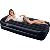 Bestway Air Bed Inflatable Camping Mattress Premium Single Airbed Electric Pump Home Indoor Outdoor Sleeping Bed Black