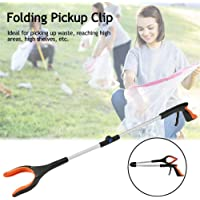 """Folding Reacher Grabber, 32""""Foldable Extension Clamp, Aluminum Handicap Tool With Rotary Clamp, Long-Arm Extension For Waste Collecto Folding Pickup Clip"""