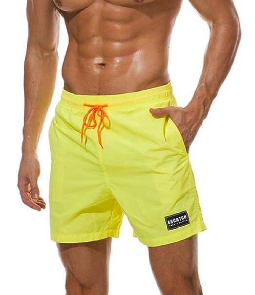 c8b4682e60 Qiangjinjiu Men Swimming Boxer Shorts Solid Color Swimwear Drawstring Pocket  1 XS