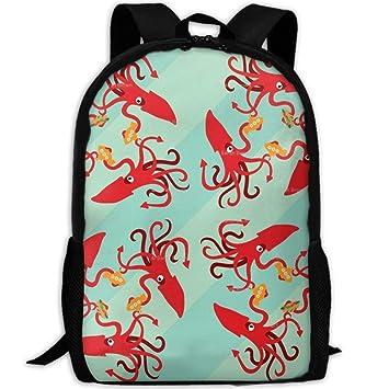 Mochila Escolar para niños, Bolsas Escolares Personalizadas - El Calamar Gigante Come subs: Amazon.es: Electrónica