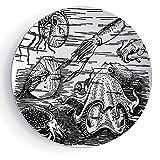 7'' Ceramic Decorative Plates Octopus Decor Ceramic Decorative Plates Marine Wildlife Print Animals with Tentacles Octopus Squid Shrimp Ocean Nature Decor