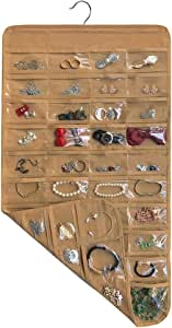 brotrade Hanging Jewelry Organizer,80 Pocket Organizer for Holding Jewelries (Coffee)