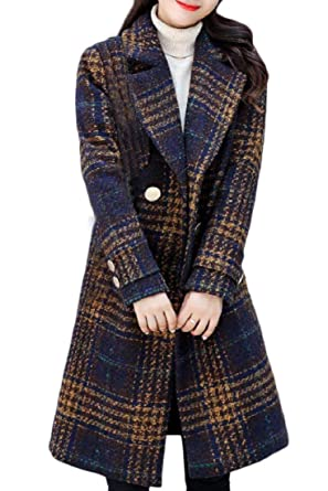 12b8d97617c9d Zimaes-Women Plaid Contrast Color Trench Coat Double-Breasted Trim-Fit  Jacket Blue
