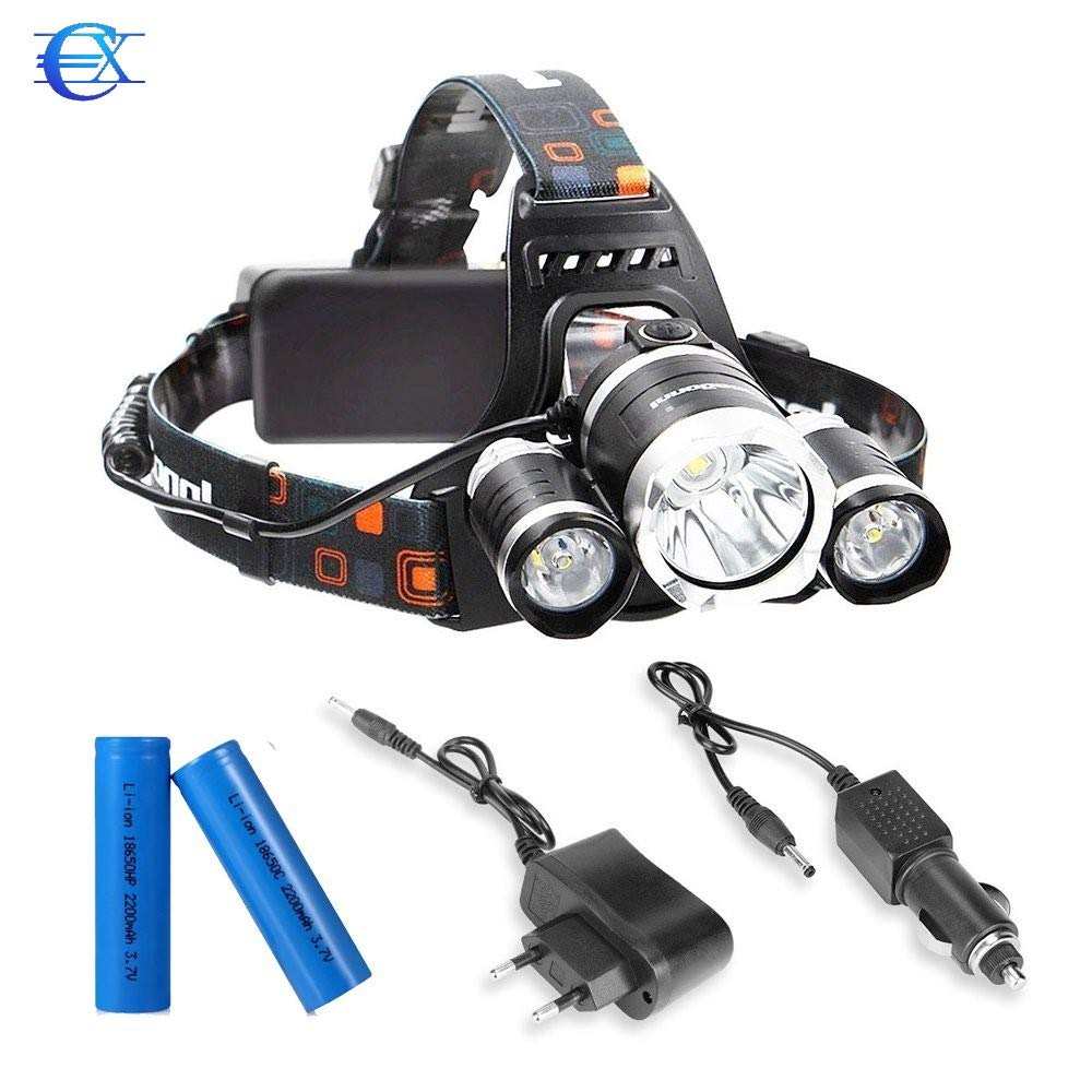 EUROXANTY/® con 4 Tipos de Luz Ideal para Camping Pesca Ciclismo Carrera Caza y M/ás Deportes Linterna Frontal Led Recargable de Alta Potencia 9000 L/úmenes