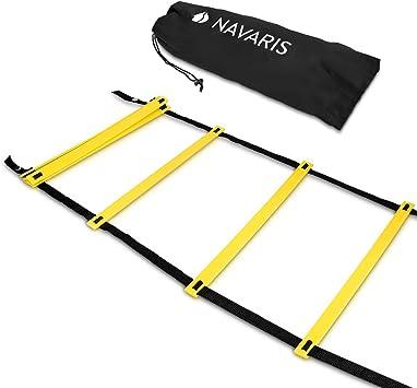 Navaris Escalera de Entrenamiento - Escalera para Hacer Deporte de 6M - para Mejorar Agilidad Velocidad coordinación - con 2 Bolsos: Amazon.es: Deportes y aire libre