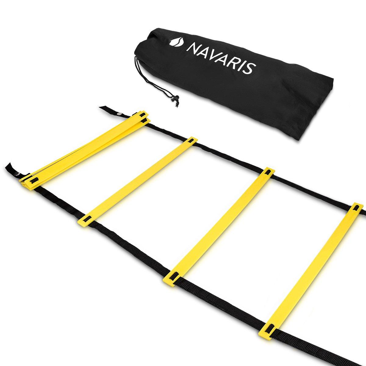 Navaris coordination ladder 6m workout agility ladder - basketball football soccer speed ladder - training ladder speed training 1 bag