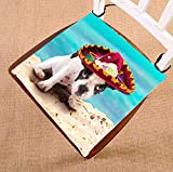 HandsToMeB Animal Chair Pad, French Bulldog Puppy in Mexican Sombrero on the Beach Seat Cushion Chair Cushion Floor Cushion Two Sides Size 20x20 inches