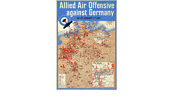 WB26 WW2 Allied Air Offensive Bombing Map Against Germany War Poster A1//A2//A3