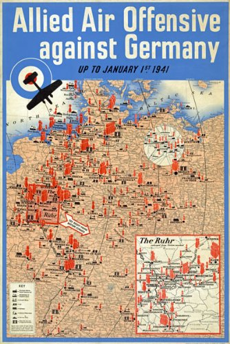 Wb26 ww2 allied air offensive bombing map against germany british wb26 ww2 allied air offensive bombing map against germany british world war poster re print gumiabroncs Image collections