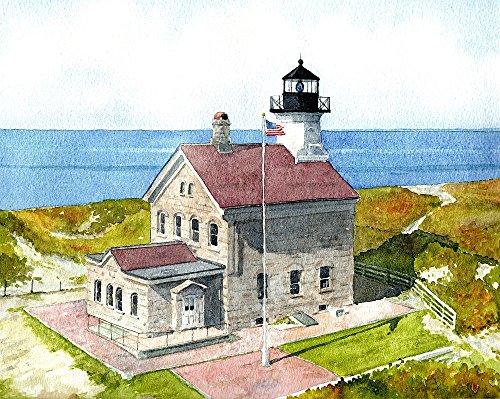 Block Island North Light Rhode Island Lighthouse Matted Watercolor Art Prints (8x10)
