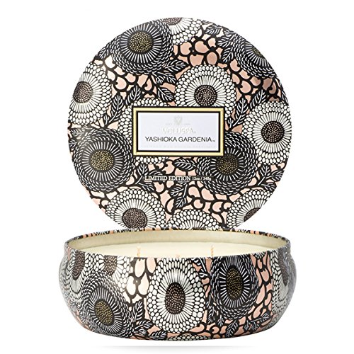 Voluspa Yashioka Gardenia 3 Wick Tin Candle, 12 ounces