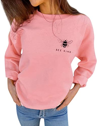 Womens Autumn Sweatshirts Bee Kind Letter Print Casual Loose Blouses Shirt