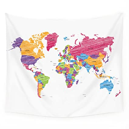 Amazon Com Qogir Colorful Graffiti World Map Tapestry Wall Hanging