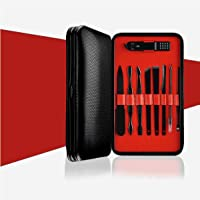 Nail Clippers kit for Men/Women, The Original GEODE product, Fingernail/Toenail Professional care, Manicure/Pedicure for home & travel, Stainless Steel cutter, heavy duty clipper (15pc set, Red)