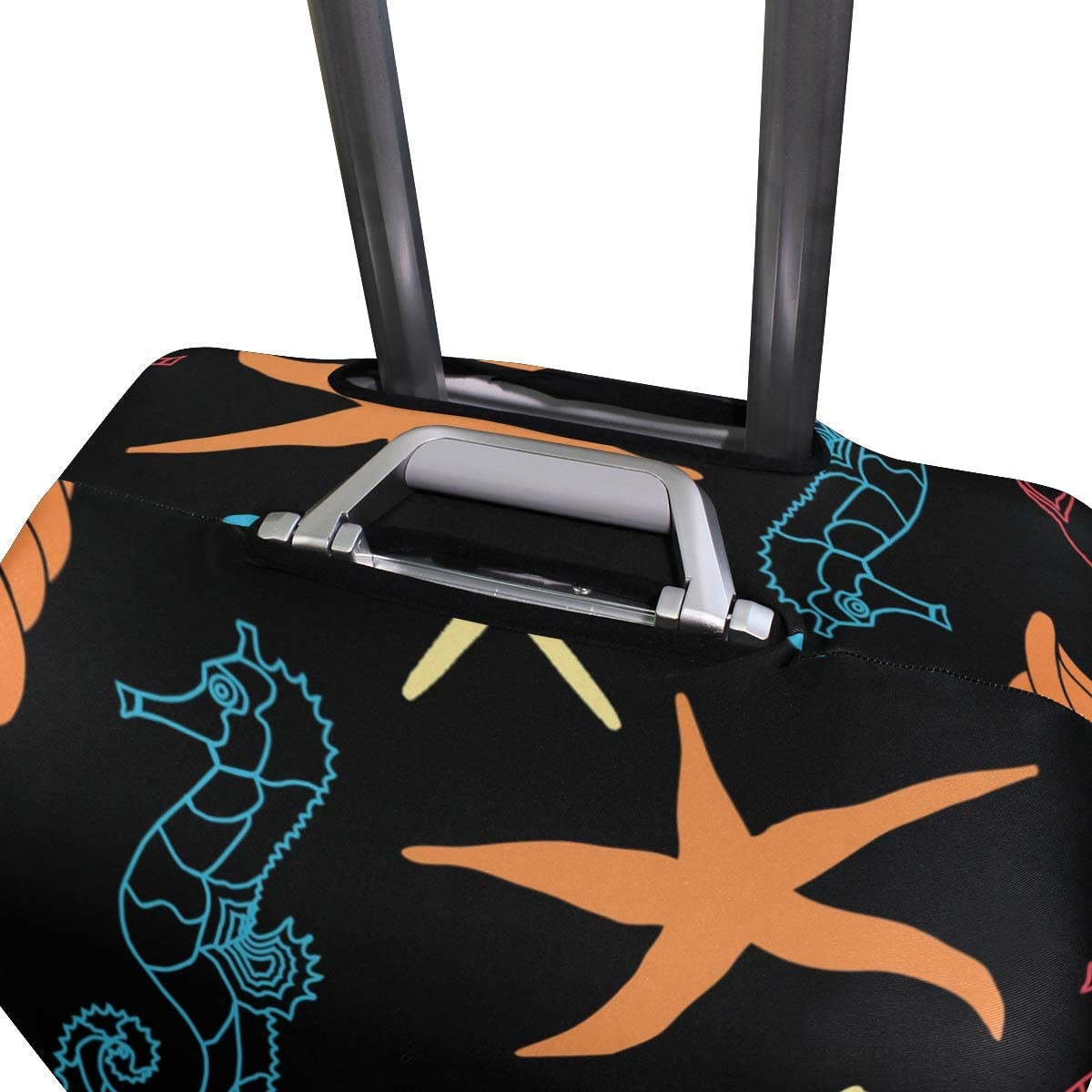 MALPLENA Blue Red Seahorse Stars Conch Luggage Protector Suitcase Cover
