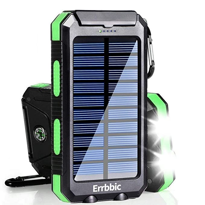 buy popular 41412 ef3c2 20000mAh Solar Power Bank Solar Charger Waterproof Portable Battery Charger  with Compass for iPad iPhone Android Cellphones (Black & Green)