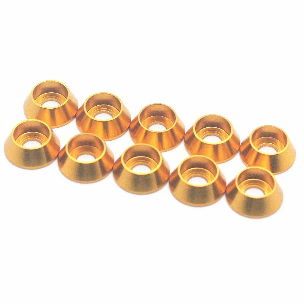 50PCS M4 Cone Washer Aluminum Alloy Cone Cup Head Screw Gasket Conical Countersunk Fender Washer (Gold)