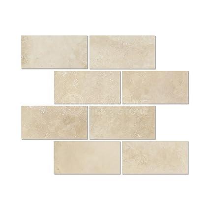 Ivory (Light) Travertine 3 X 6 Subway Field Tile, Filled & Honed
