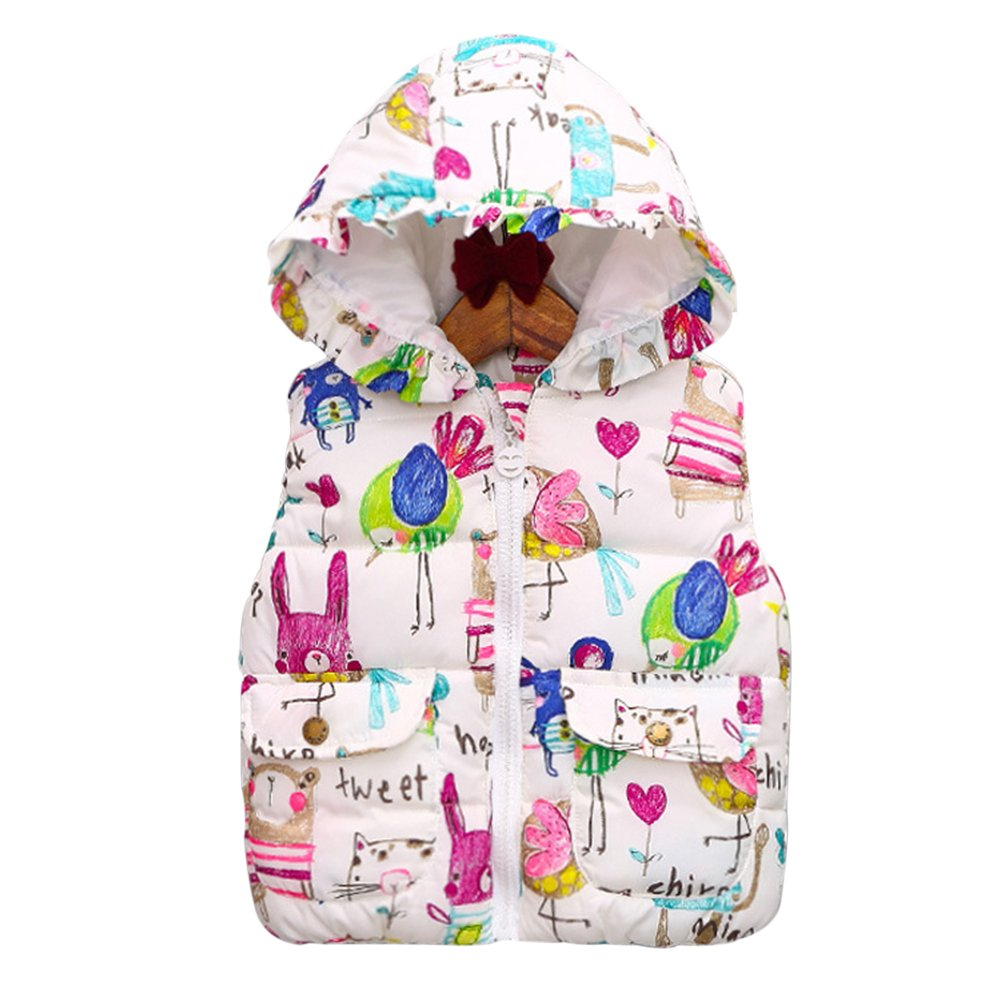 Brightup Girls Coats Jackets Gilets, Little Girls Vest Coat Kids Graffiti Print Hooded Waistcoat