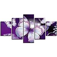 Shisky Quadri Moderni, Viola Fiore Farfalla HD Arte Stampa Disegno Core Semplice Home Camera da Letto Moderna