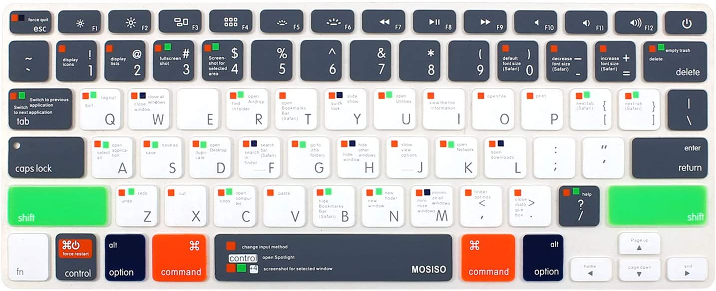 MOSISO Silicone Keyboard Cover Compatible with MacBook Pro 13/15 inch (with/Without Retincha Display, 2015 or Older Version) MacBook Air 13 inch (Release 2010-2017), Mac OS X OSX-M-CC-2, Gray