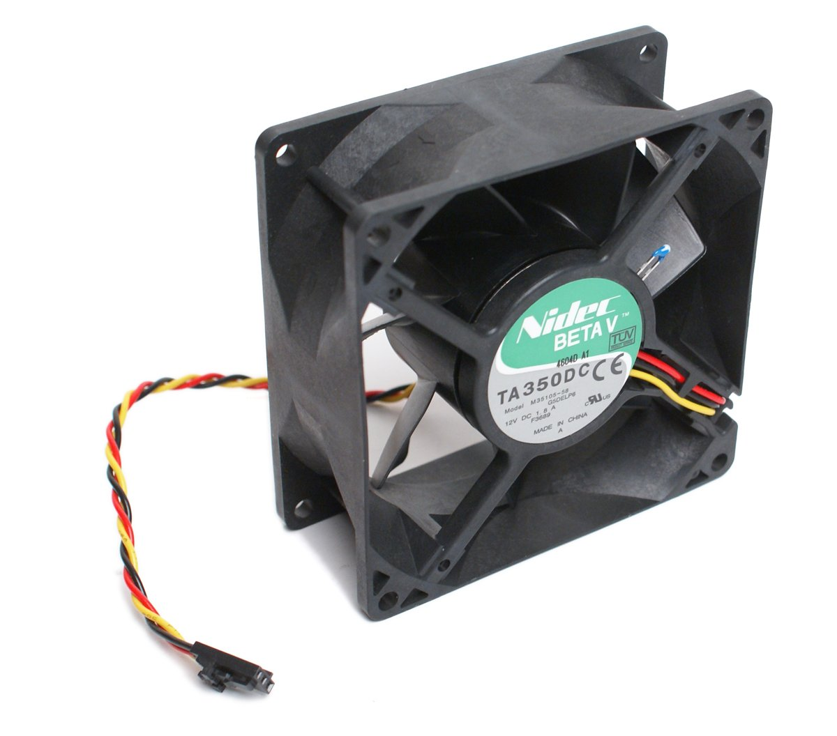 NIDEC BetaV TA350DC Quiet Case Cooling Thermal Sensor Fan 12V 1.8A, 3-Pin (3-Wire Lead), 90mm x 90mm x 38mm, Compatible Model Number: M35105-58