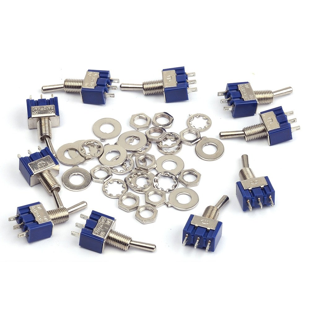 Cylewet 10Pcs MTS102 AC 125V 6A On/On 3 Pins 2 Positions Mini Toggle Switch Single Connection for Arduino (Pack of 10) CYT1015 Qianxin