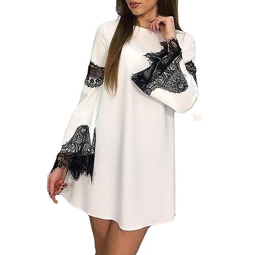 e48cec0502b5d9 Kleid damen Kolylong® Frauen Elegant Langarm Kleid mit Spitze Vintage  A-Linie Spitzenkleid Kurz Minikleid Cocktail Partykleid Bluse Sweatshirt  Tops (Weiß