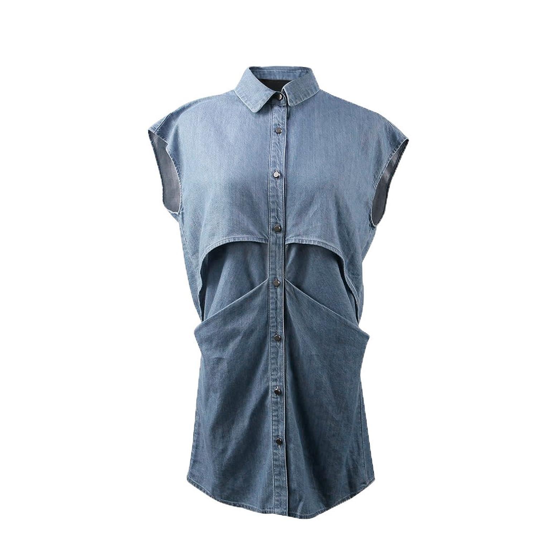 JNTworld Distressed Women Casual Button Front Loose Sleeveless Denim Shirt Dress