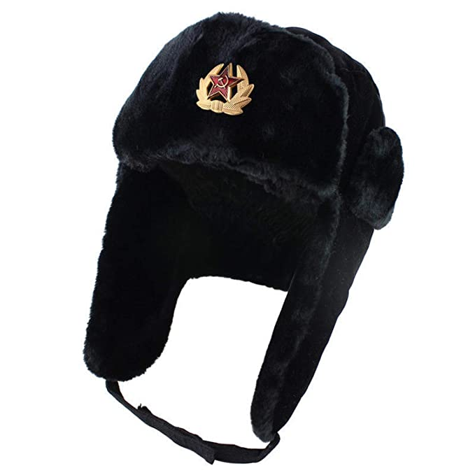 ca330497 Bomber Hat Ushanka Men Women Winter Ear Flap Raccoon Fur&Lamb Leather  Russian Cossack Trapper Hat,