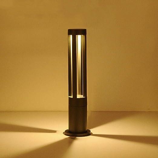 ZXCC Pared Exterior Impermeable Luces Parque Columna de césped del jardín lámpara de pie Carril balizas Pilar de Luz Negro de Aluminio,Height:60.2CM: Amazon.es: Hogar