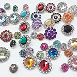 PEPPERLONELY Brand 20PC Assorted Color Acrylic Rhinestone Buttons with Shank 13~26mm