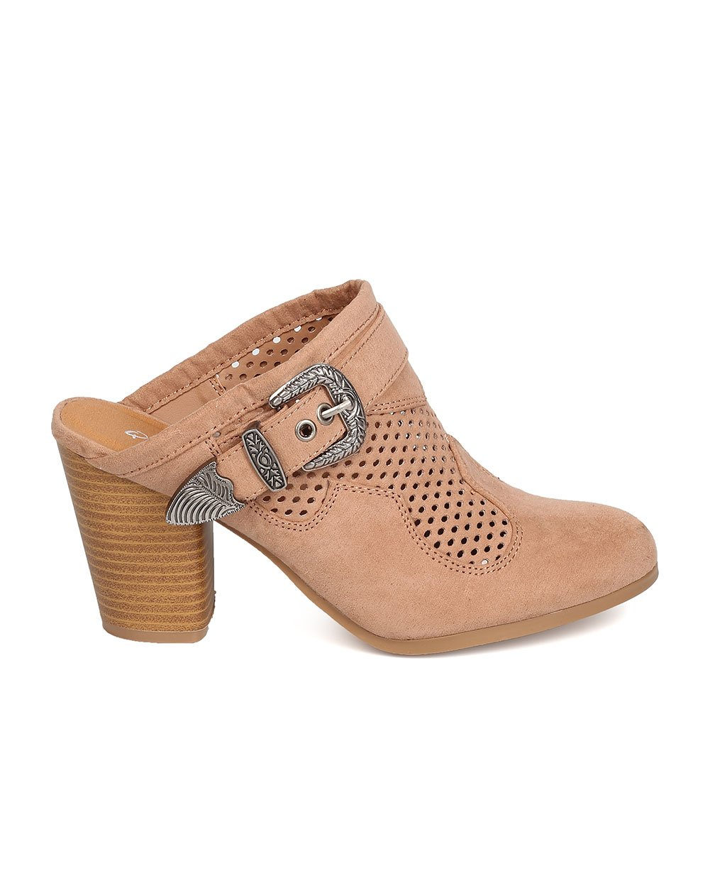 Qupid Women Faux Suede Perforated Buckled Chunky Heel Mule FD91 - Taupe (Size: 7.5) by Qupid (Image #2)